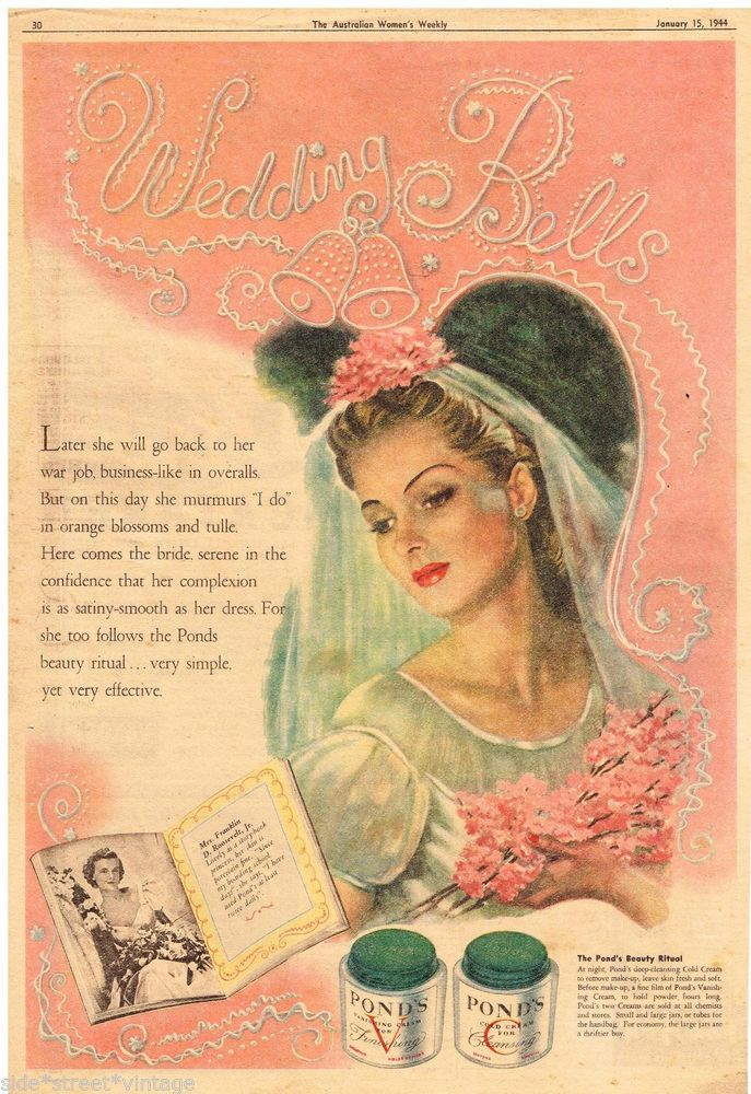 PONDS CREAM AD WEDDING BELLS BRIDE Vintage Advertising 1944 Original Advert