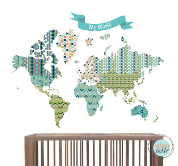 World map wall sticker and banner beautiful world 64x48 inches world map wall sticker and banner beautiful world 64x48 inches nursery decor gumiabroncs Image collections