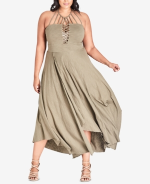 24e22f5961e City Chic Trendy Plus Size Strappy Halter Maxi Dress - Tan Beige 14W ...
