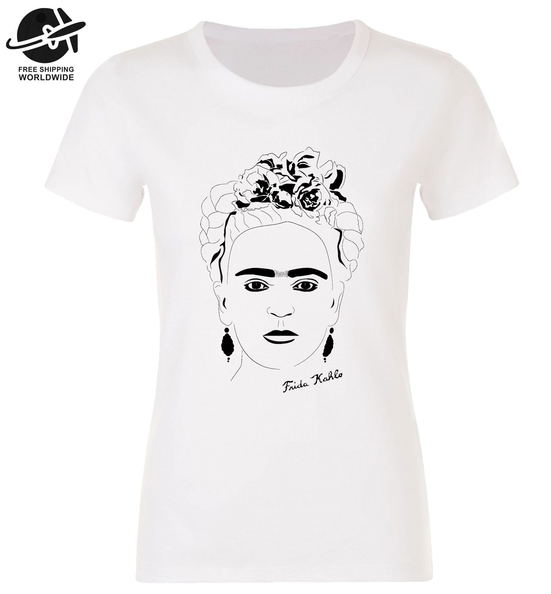 White Frida Kahlo T-Shirt Bella Canvas 100/% White Cotton Unisex Tee for Men and Women