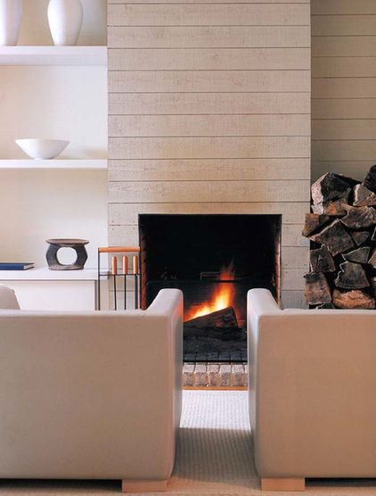 NOTE: A simple modern hearth is desired. The fireplace could be double-sided Rumfords in rough cut CMUs to be shared with interchangeable LR & DR. Wood storage can be under the eaves in the back of the house. Media screens can be mounted above.