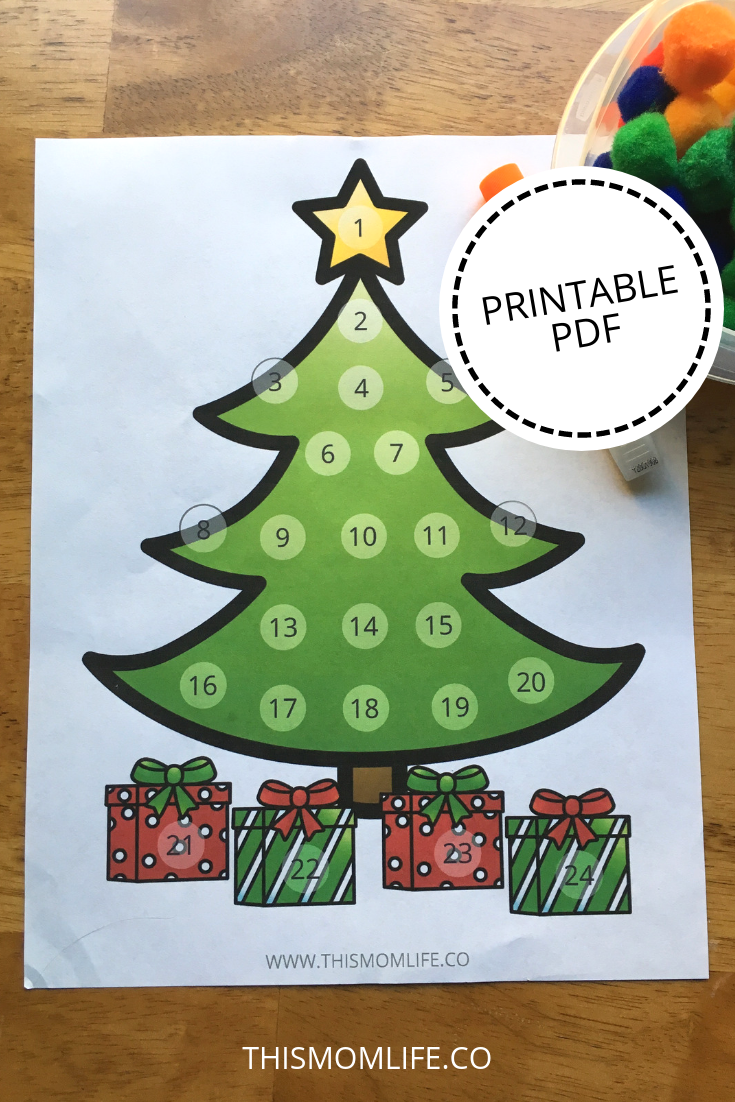 Printable Christmas Tree Advent Calendar Pattern - CHRISMASTUR