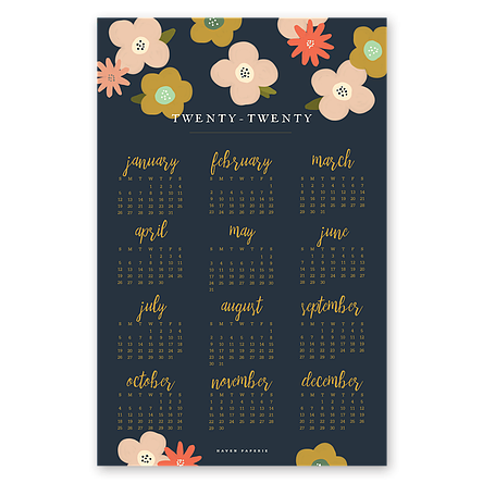2020 Wall Calendars In 9 Different Styles By Haven Paperie 11x17