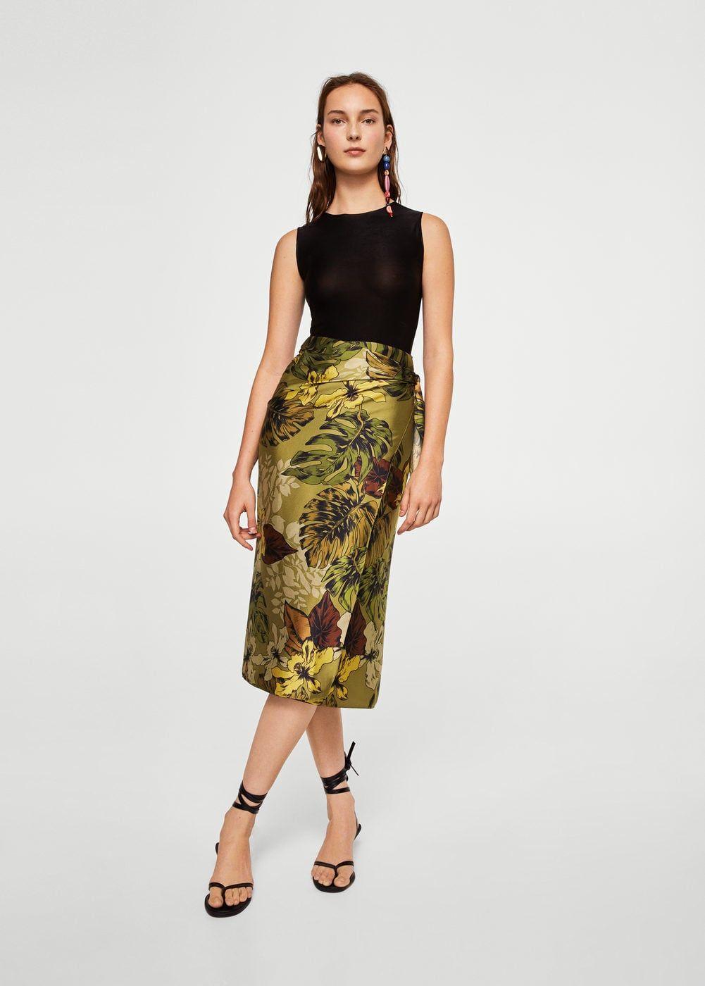 8ca5ed550 Floral midi skirt | MANGO Midi Skirt, Satin Fabric, Capsule Wardrobe,  Spring Summer