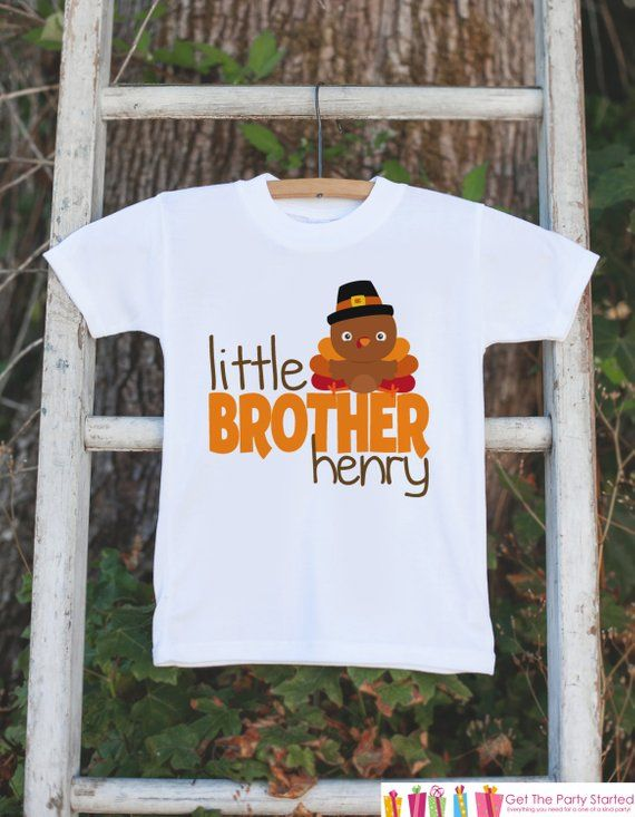 58ab71765 Little Brother Shirt - Custom Little Brother Onepiece or Tshirt - Thanksgiving  Turkey Shirt for Boys