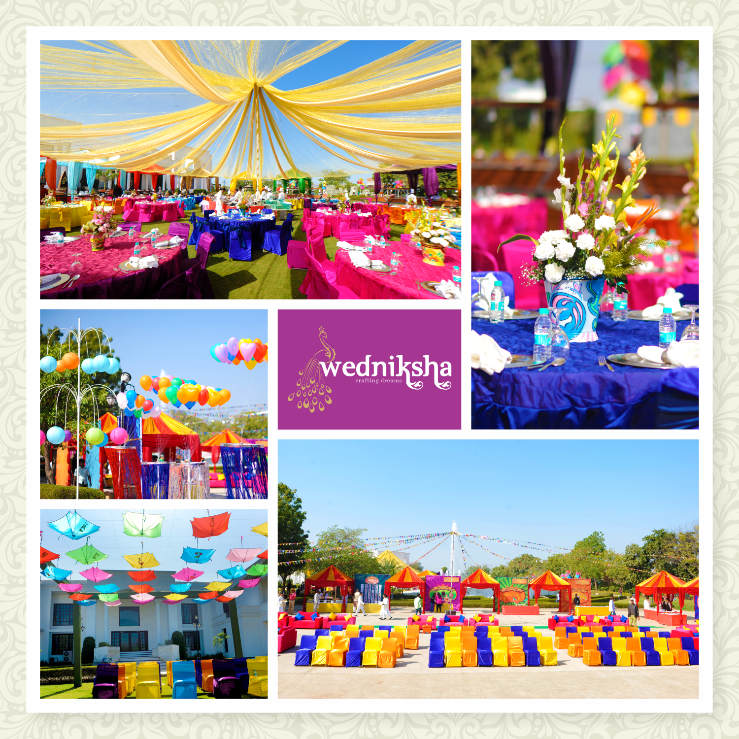 The carnival theme did its magic just right at the Jaipur wedding! The bright yellow and blue shades simply freshened up the minds of our guests thereby bringing bright smiles onto their faces.  Created by ‪#‎Wedniksha‬