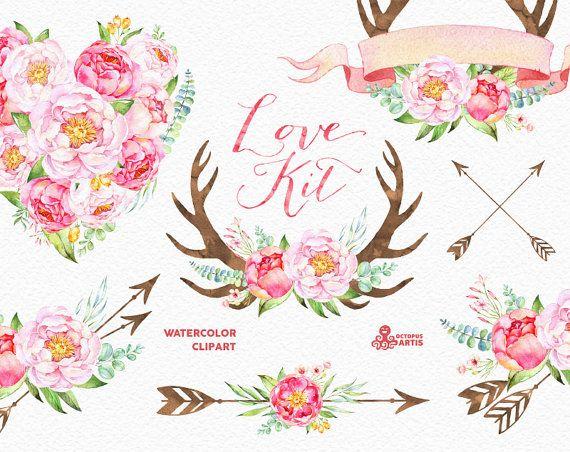 Kit de amor. Acuarela flores Clipart Peonías por OctopusArtis