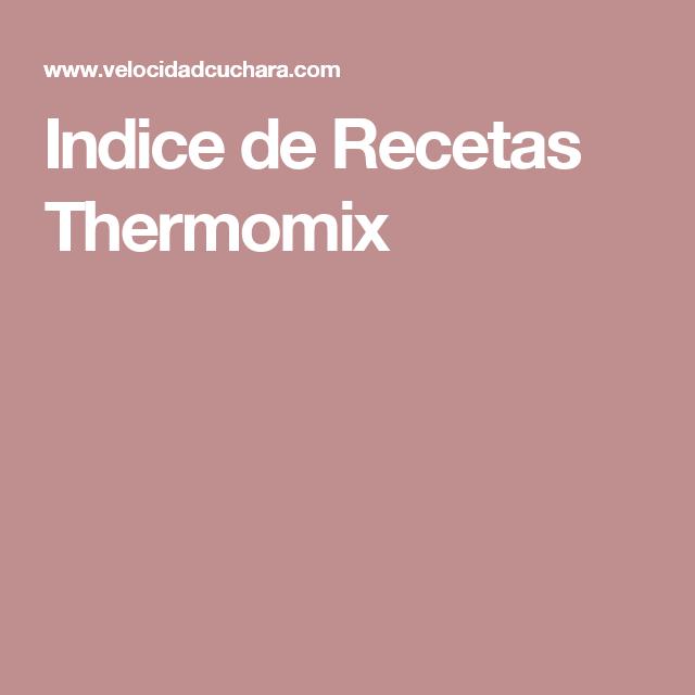 Indice de Recetas Thermomix