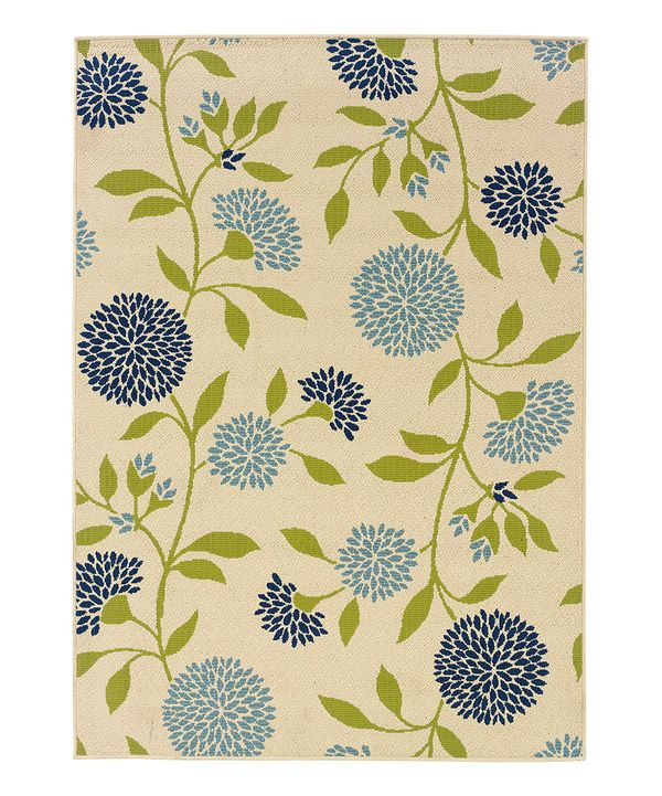 Ivory Amp Blue Hydrangea Hyrcania Indoor Outdoor Rug On