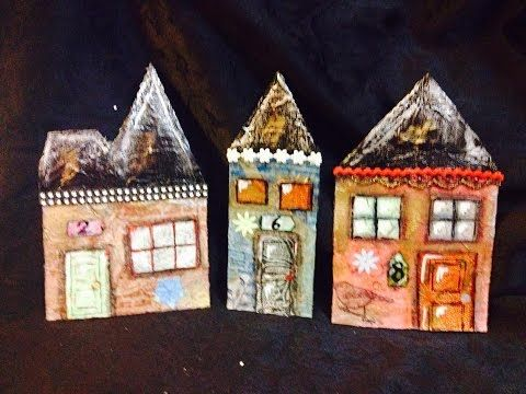 Part 1 making houses out of cardboard mixed media - YouTube