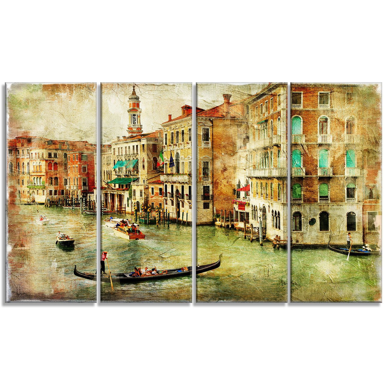 Vintage Venice Digital Landscape 4 Piece Graphic Art on Wrapped ...