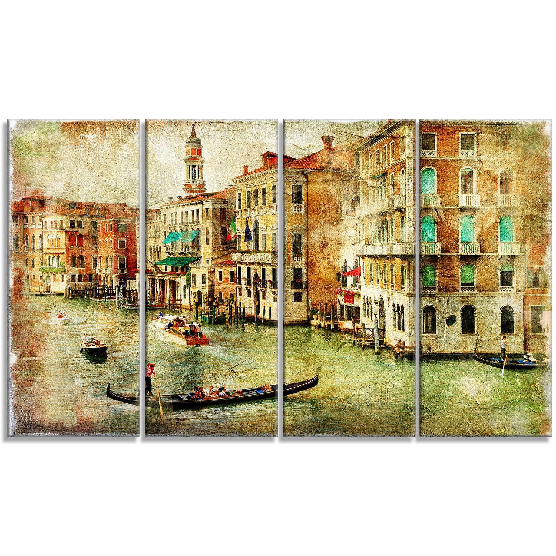 Vintage Venice Digital Landscape 4 Piece Graphic Art on Wrapped ...