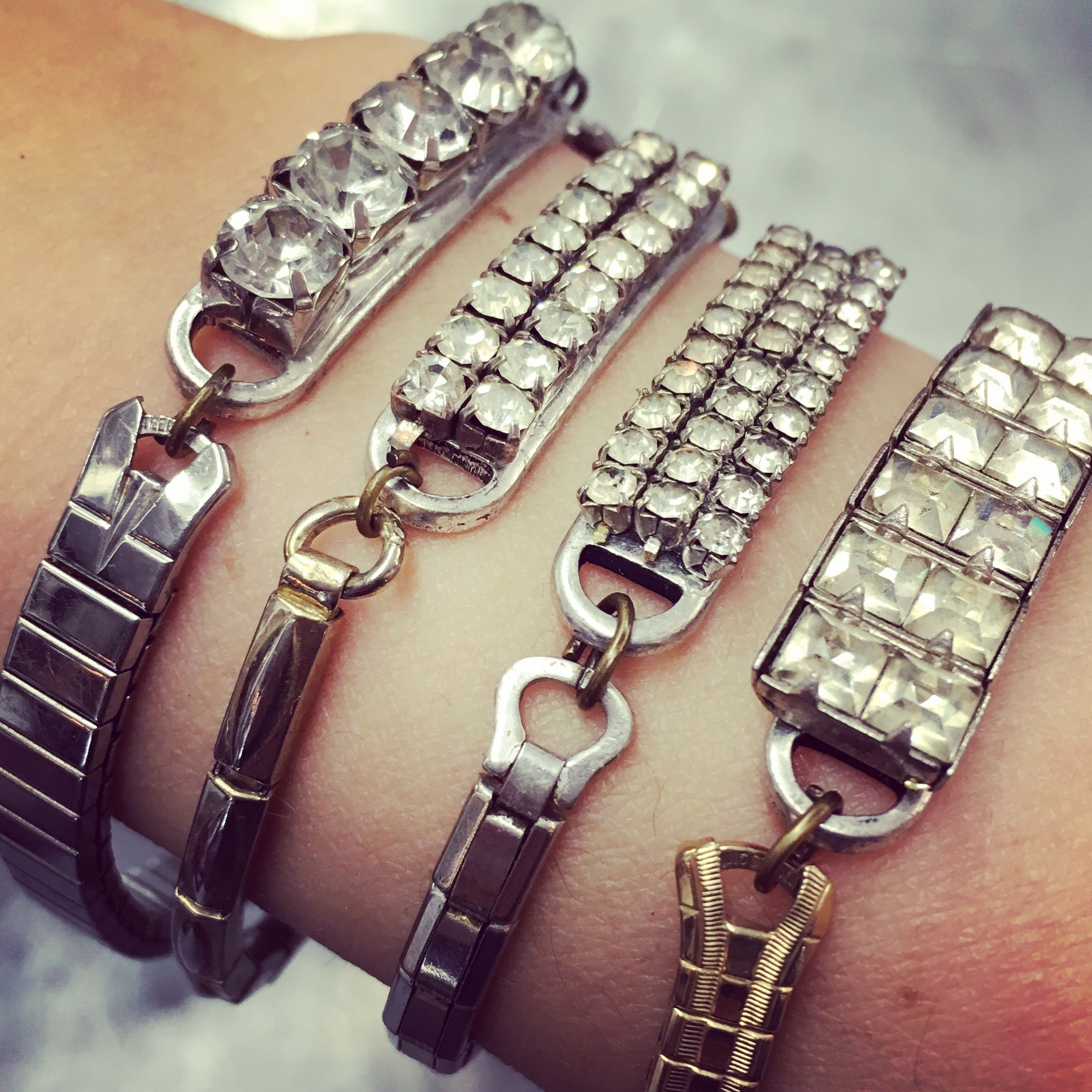 Serious arm candy at the Agoura Antique Mart! How cool are theses bracelets made from vintage watch bands?!