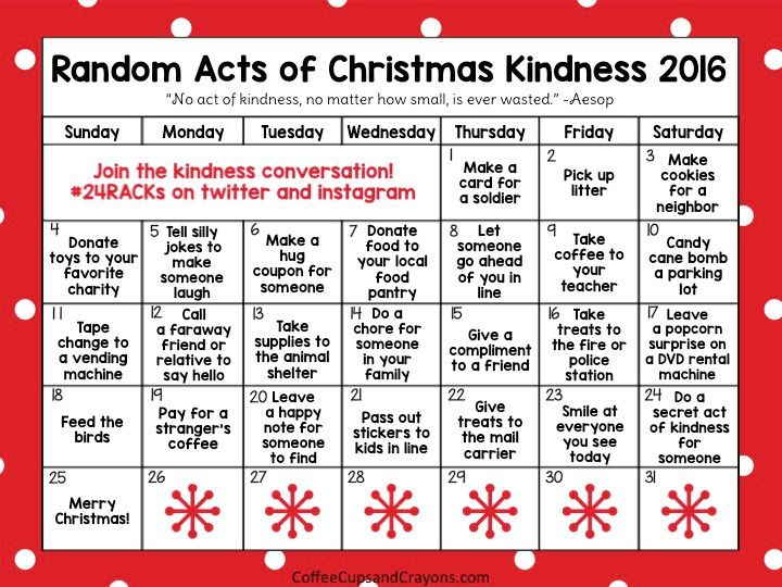 Random Acts Of Christmas Kindness Advent Calendar Advent
