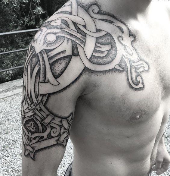 4507d0211 Sean Perry viking shoulder tattoo | Scandinavian tattoos ...