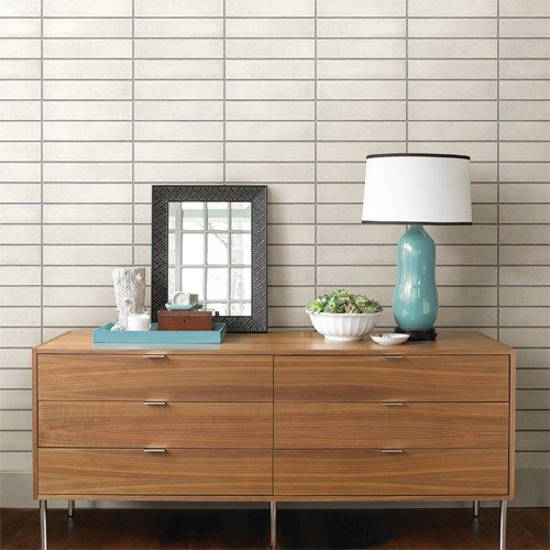 White MidCentury Brick Peel and Stick Wallpaper Single