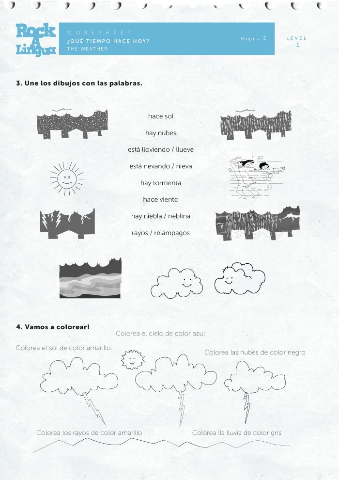 Weather Worksheet Rockalingua Spanish weather – Spanish Weather Worksheet