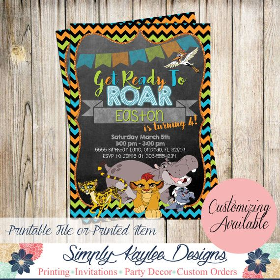 Printable Birthday Party Invitation Card Detroit Lions: Lion Guard Birthday Invitation By SimplyKayleeDesigns On