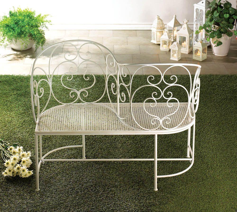 White Wrought Iron Scroll Work Couples Garden Bench Patio 400 x 300