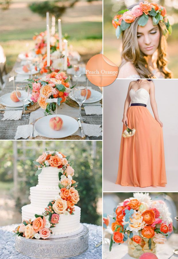 spring/summer wedding color ideas - peach orange wedding color scheme and bridesmaid dresses..Don't forget personalized napkins for the big day! #itsallinthedetails www.napkinspersonalized.com