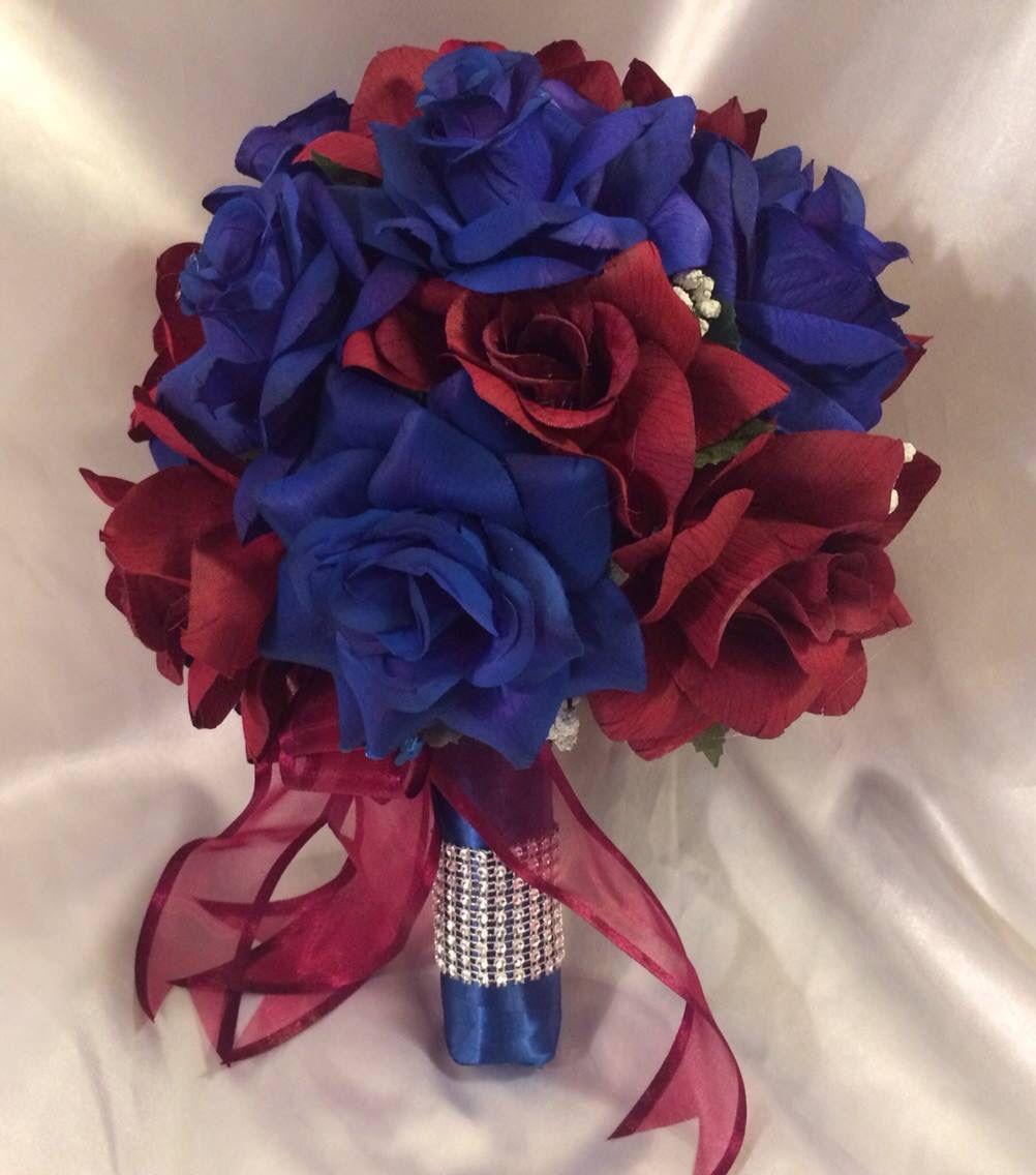 Burgundy Navy Blue Round Silk Wedding Bridal Bouquet