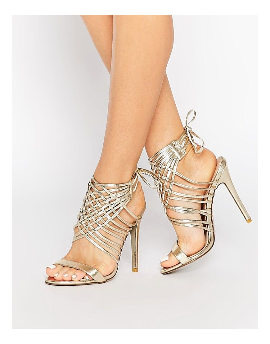 Image 1 of Public Desire Gold Tie Up Heeled Sandals   Things for my ... f3cb0387652c