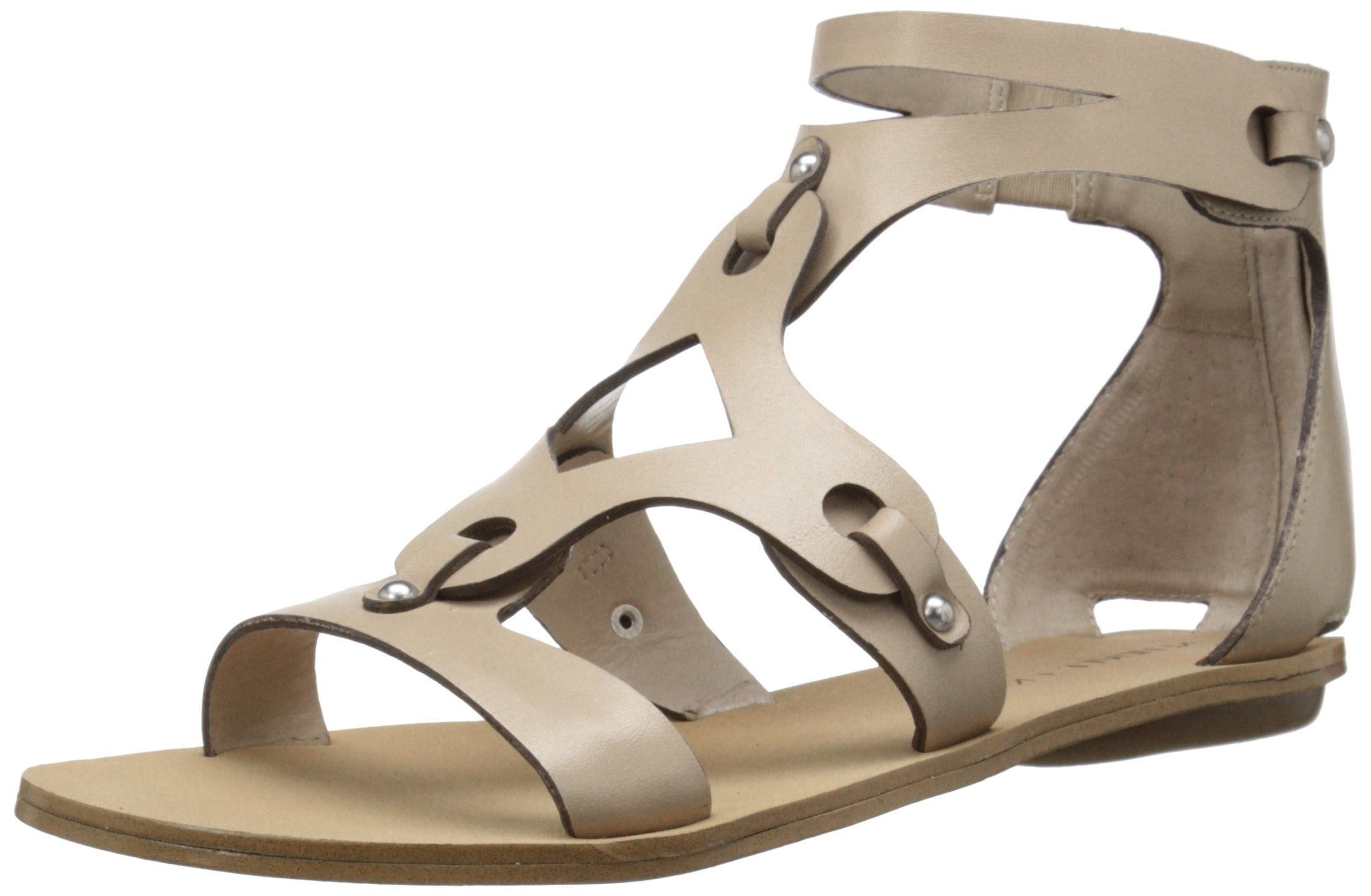 4537846996a Gladiator-inspired leather sandal with strappy upper featuring covered heel  counter with zip closure.