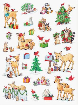 Current Usa Inc Christmas Stickers With Fawn And Other Animals Vintage Christmas Cards Christmas Stickers Christmas Scrapbook