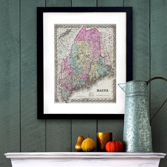 Antique Map of the State of Maine ca 1855 Posters by PortofPrints
