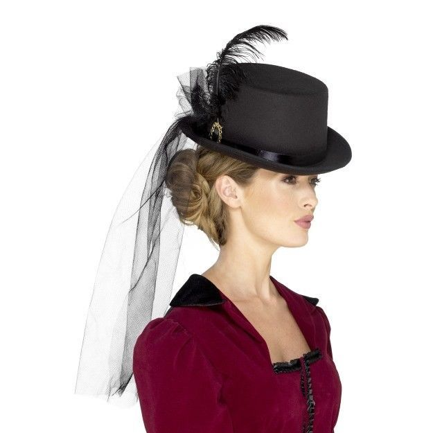 Black Victorian Top Hat With Veil Feathers Brooch Ladies Fancy Dress ... 575404f5b25