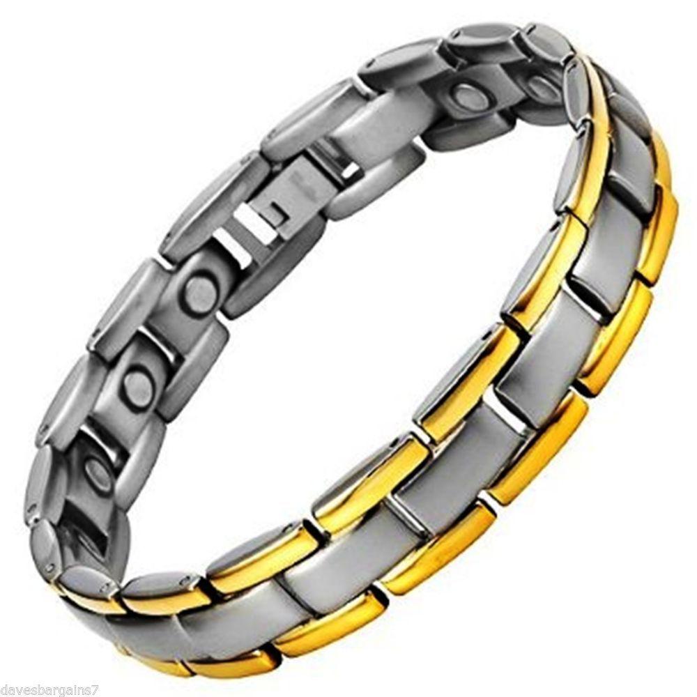 Mens golf titanium gold trim magnetic therapy bracelet velvet box