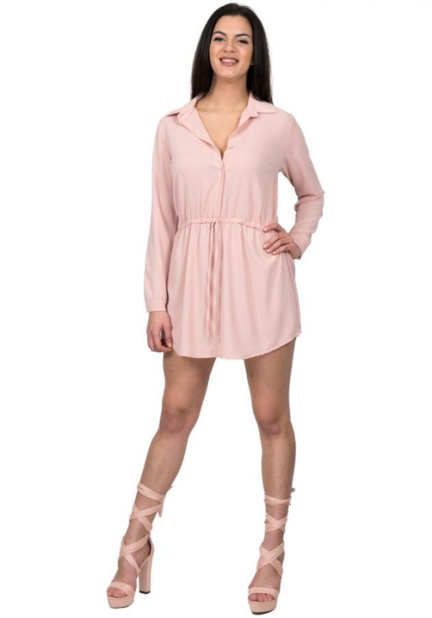 14b99fe480f2 Φόρεμα πουκάμισο με μακρύ μανίκι. Το φόρεμα έχει γιακά και κουμπιά μπροστά.  Έχει ενσωματωμένη