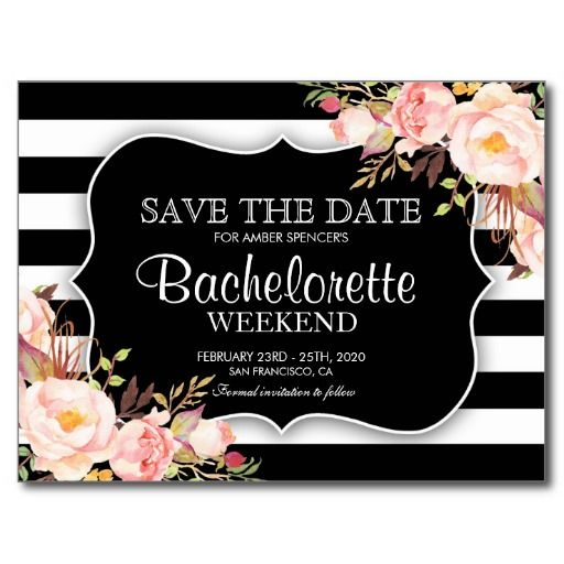 Floral Bachelorette Weekend Save The Date Postcard  Bachelorette