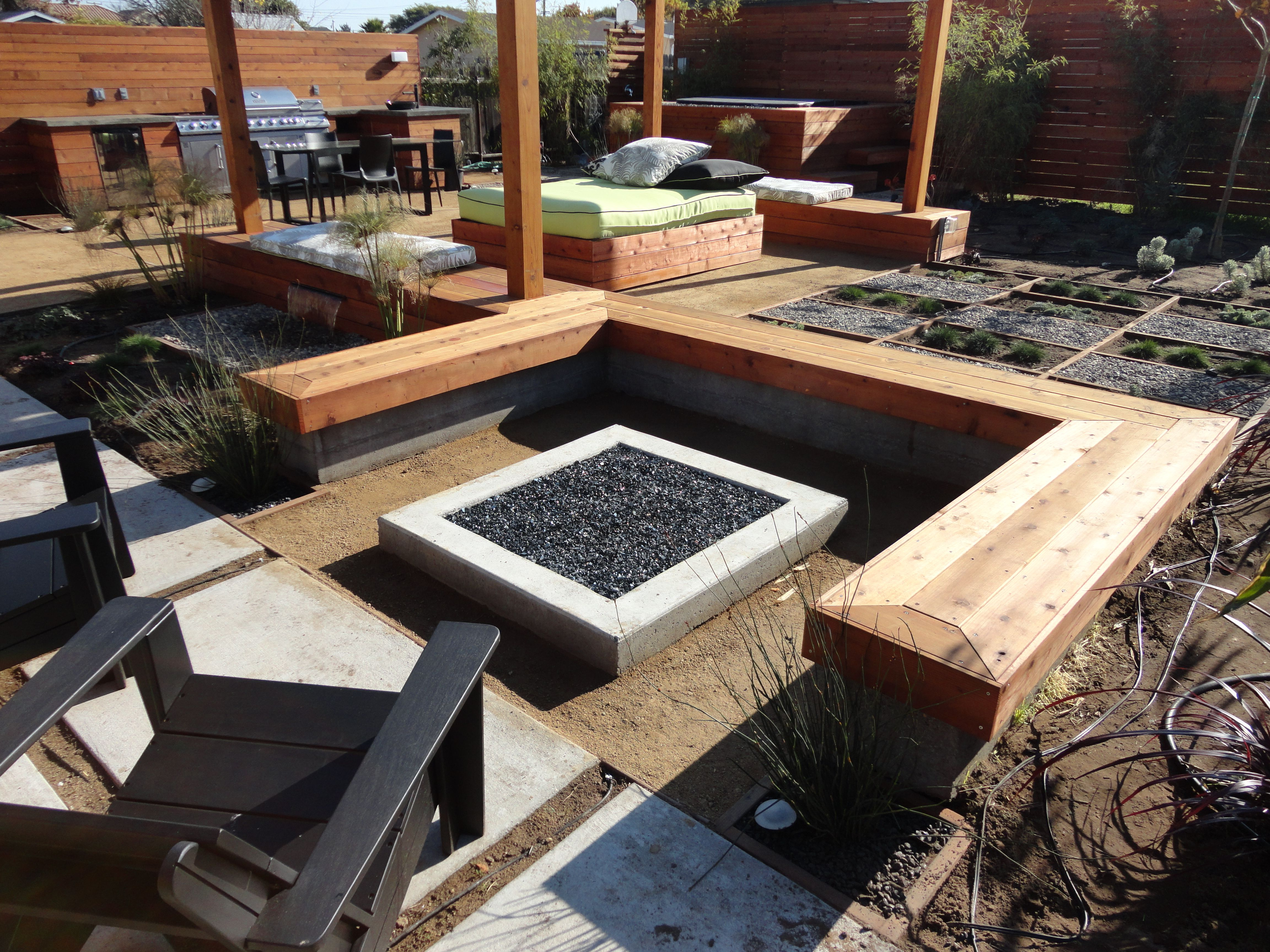 Contemporary Fire Pit Bench Patio