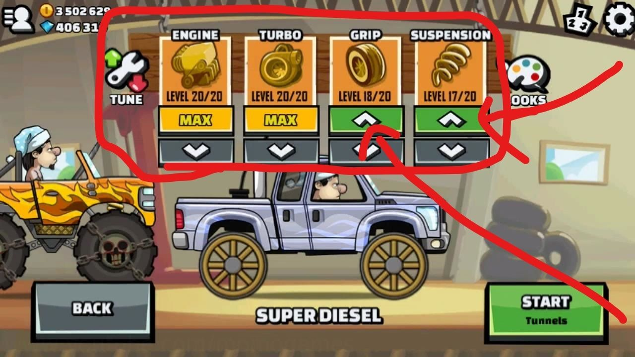 Hill climb race 2 how to upgrade your super diesel truck for easy wins