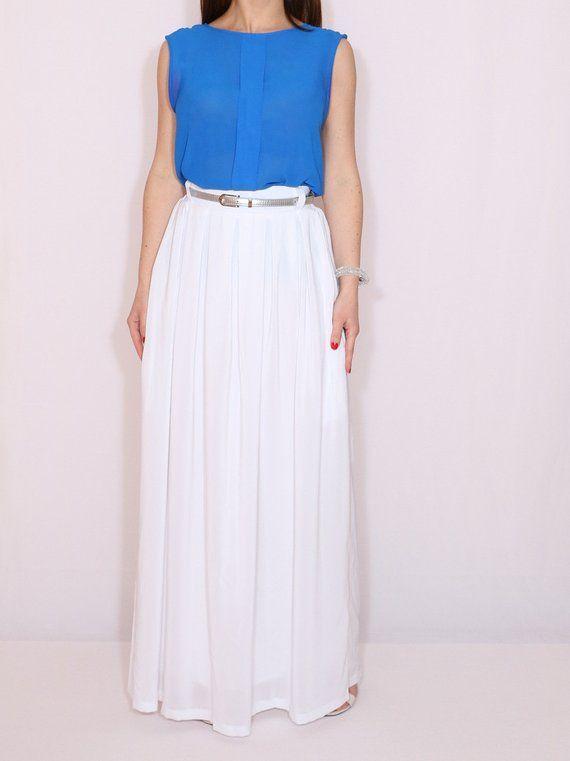 e7166df537bcd White maxi skirt Chiffon wedding skirt White chiffon skirt White ...