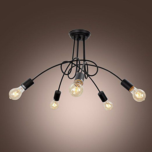 Unitary vintage barn black chandelier max 300w with 5 lights unitary vintage barn black chandelier max 300w with 5 lights painted finish amazon mozeypictures Gallery