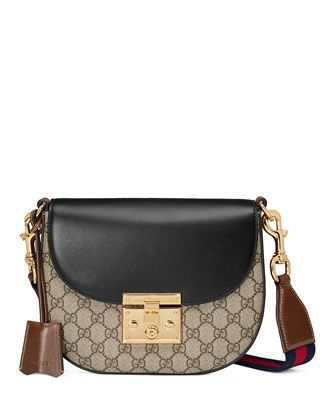 4ba46bc93 Padlock+Medium+GG+Supreme+Saddle+Bag,+Black+by+Gucci+at+Neiman+Marcus.  WANT, WANT, WANT!!!