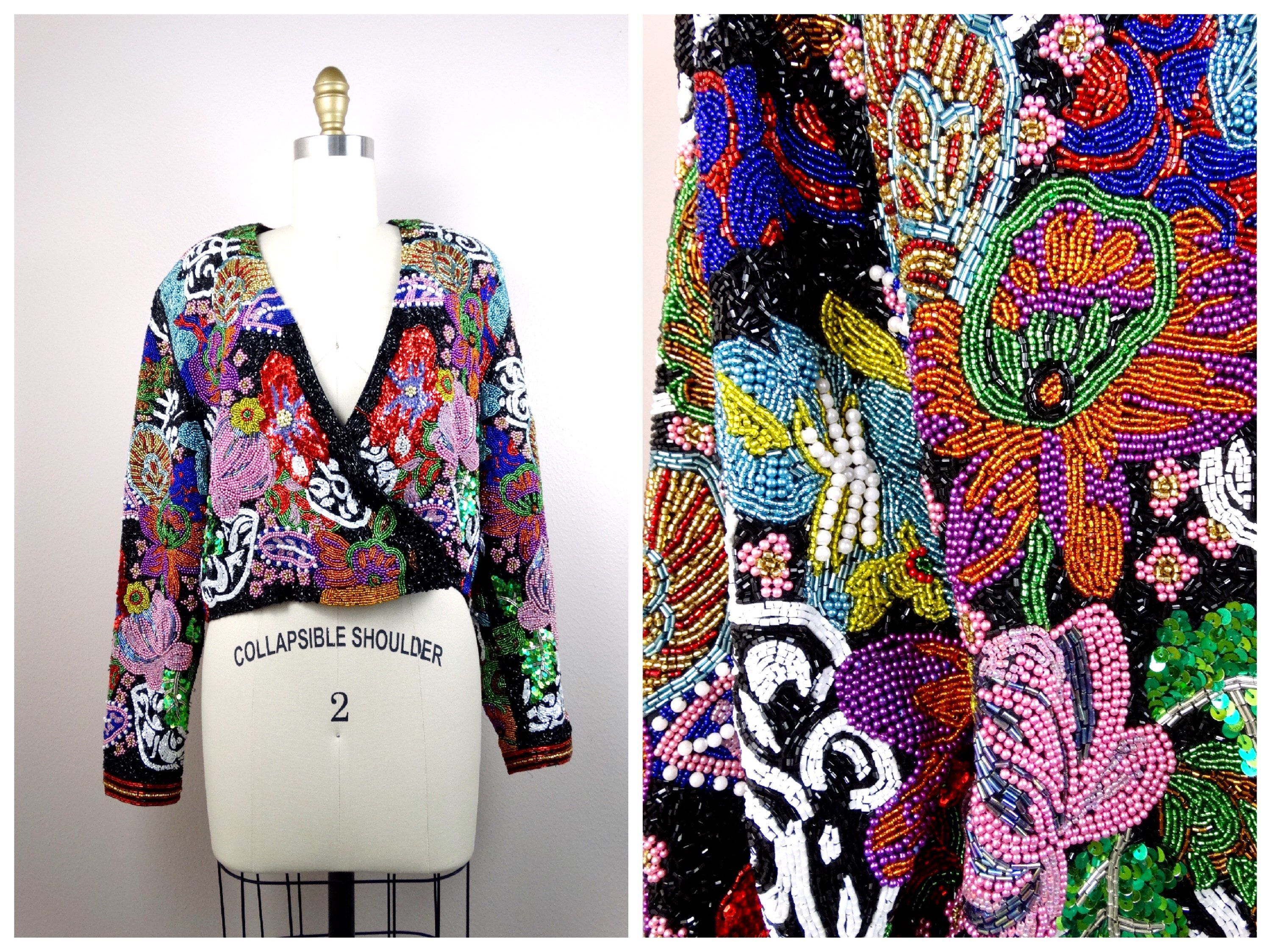 c4bc8d4c21 VERY HEAVY All Beaded Sequin Embellished Jacket   Jewel Beaded Sequins   amp  Pearls Cropped Jacket