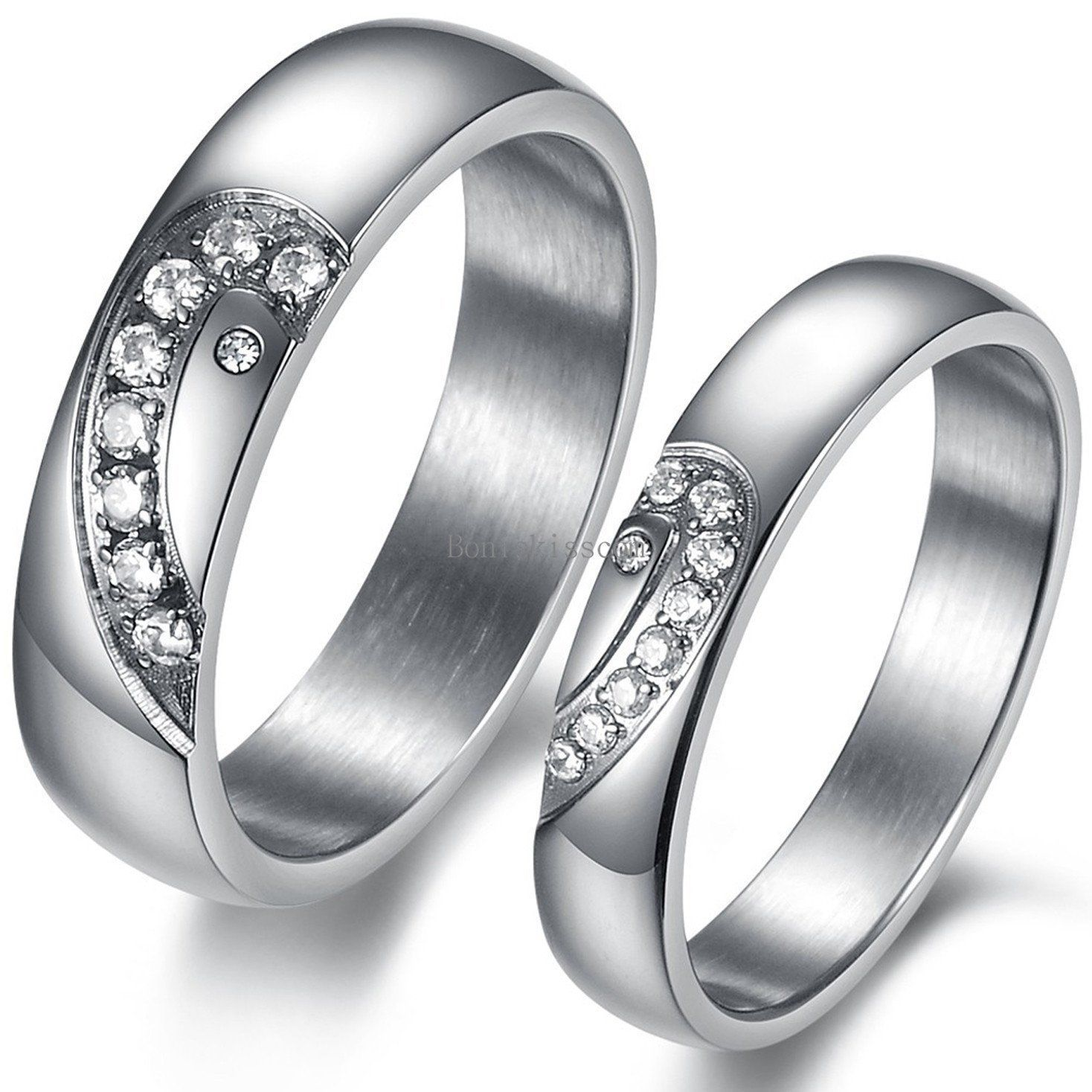 4b328bf180 $6.49 - Couples Stainless Steel Matching Heart Promise Engagement Ring  Wedding Band Gift #ebay #Fashion