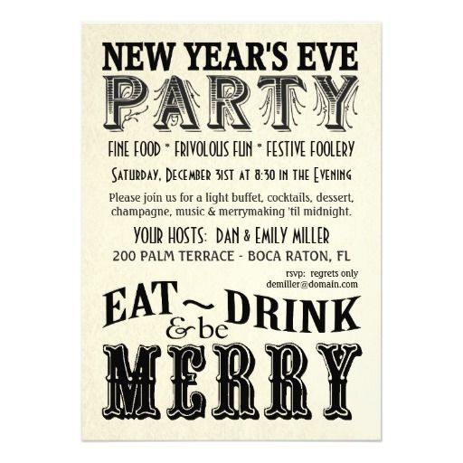 New Years Eve - Eat Drink Be Merry Invitations   Zazzle ...