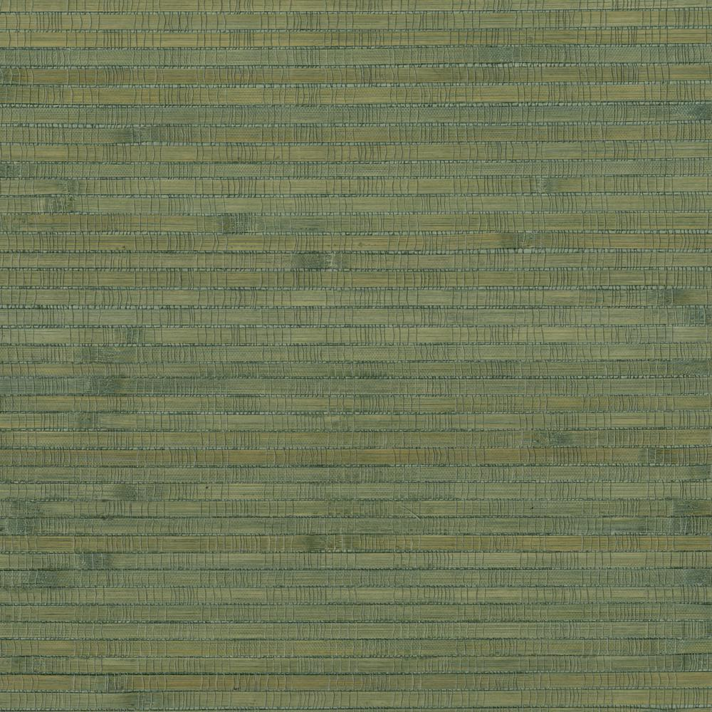 Brewster Wallcovering 72 sq. ft. Teal Bamboo Grass Cloth