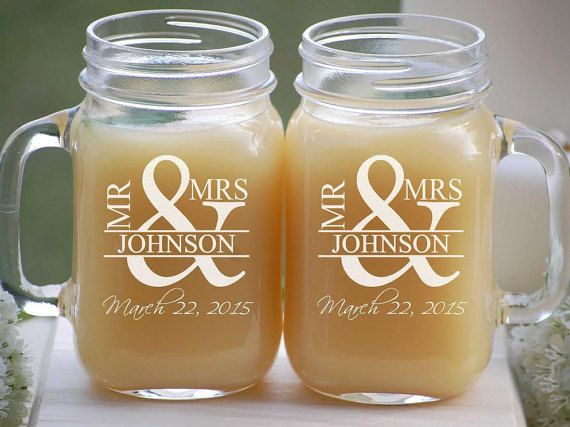 Pin By Fdelashaw Delashaw On Pat And Erica S Wedding Ideas Personalized Mason Jars Engraved Mason Jar Mason Jar Wedding