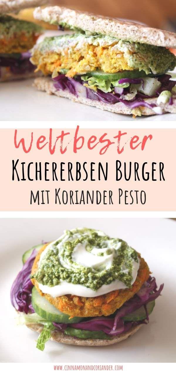 Karotten Kichererbsen Burger mit Erdnuss Koriander Pesto #peanutrecipes