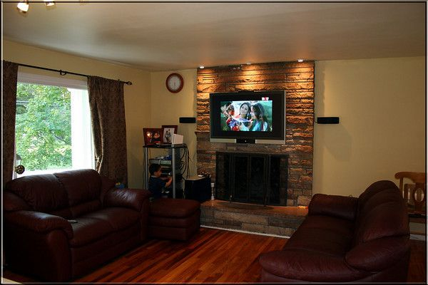 Living Room With Tv Above Fireplace Decorating Ideas tv above fireplace decorating ideas (lights are up way to go