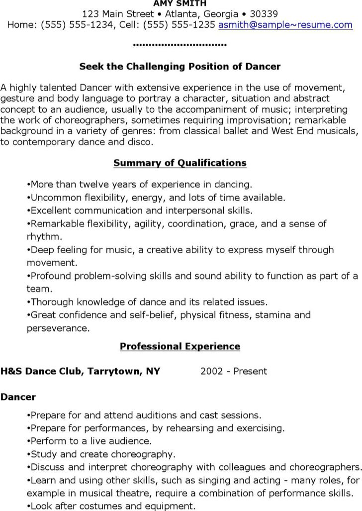 dancer resume  yahoo image search results  acting resume