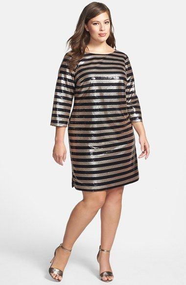 vince camuto sequin stripe cocktail dress (plus size) available at