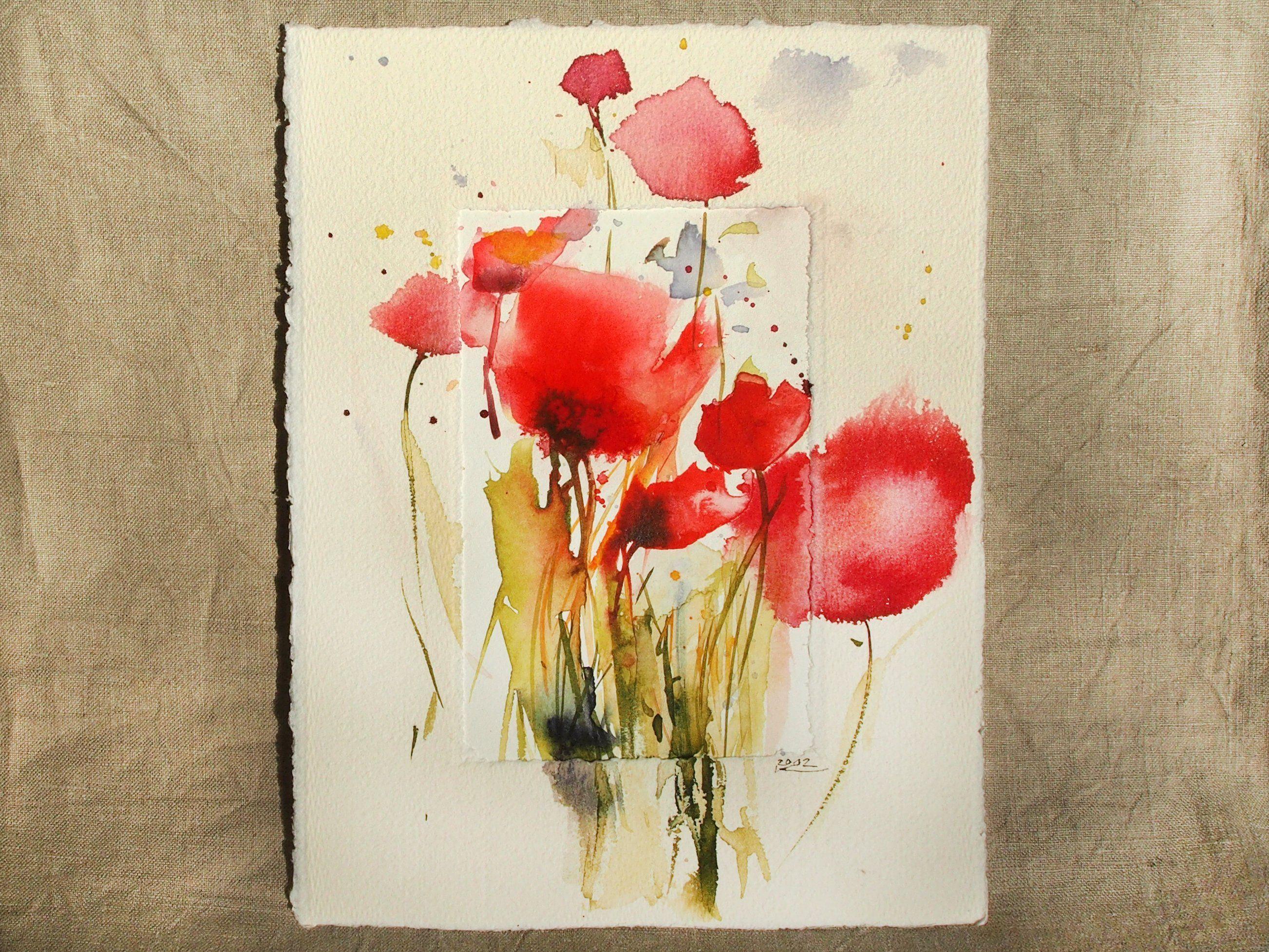 Mohnblumen Originalaquarell Im Buttenpassepartout Einzelstuck Kleines Bild Blumenbild Individuelles Geschenk Hochformat Blumenbilder Blumen Bilder Aquarell