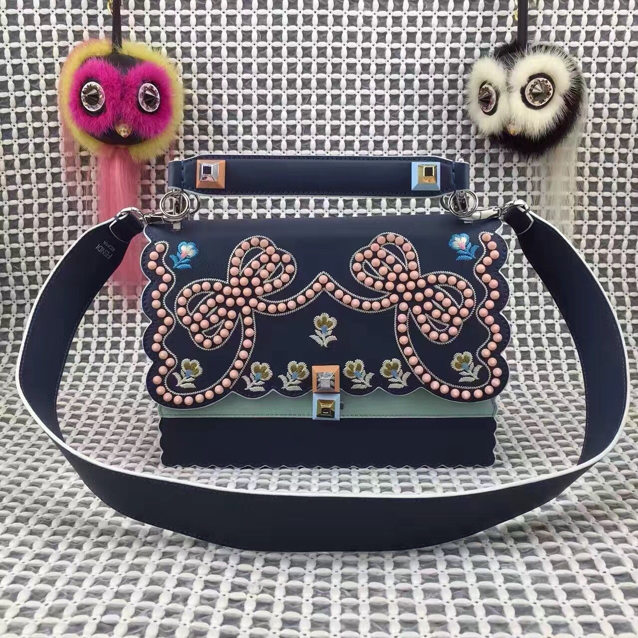 eb810161212a Fendi Multicolor Studded Embellished and Floral Embroidered Kan I Crossbody  Mini Bag Deep Blue Spring 2017