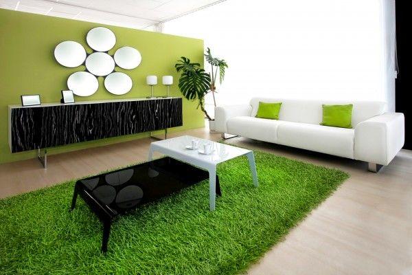 farben im wohnzimmer grün weiß schwarz schaggy teppich ...